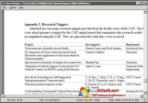 Screenshot DocX Viewer Windows 7