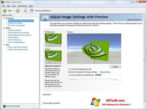 Screenshot NVIDIA ForceWare Windows 7