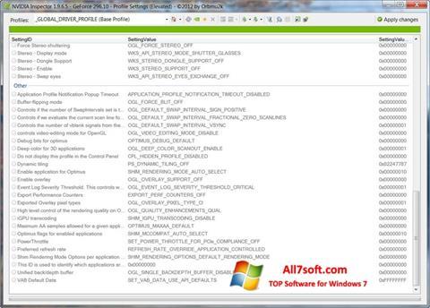 Screenshot NVIDIA Inspector Windows 7