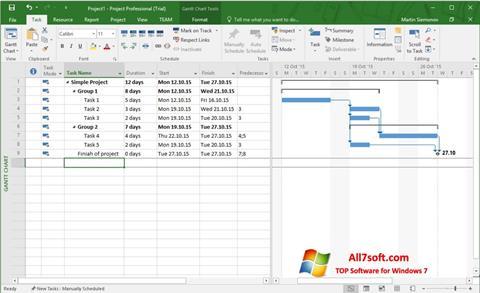 Screenshot Microsoft Project Windows 7