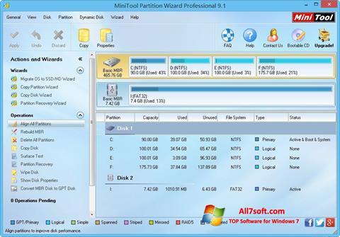 Screenshot MiniTool Partition Wizard Windows 7