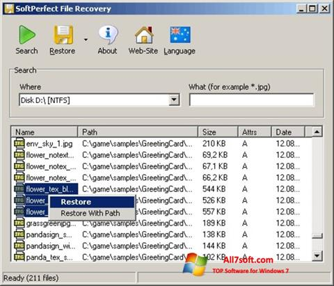 Screenshot SoftPerfect File Recovery Windows 7
